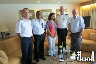 Cruise ship Ms ROTTERDAM docks in Port Victoria in Seychelles and Captain welcomed by island s Minister for Tourism
