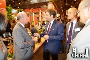 Matthias Fekl of France and Alain St.Ange of Seychelles meet at the Paris Tourism Trade Fair