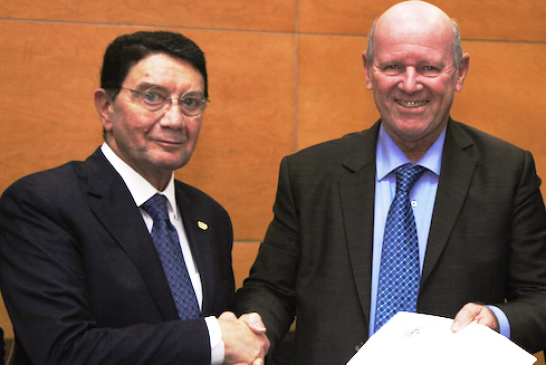 Alain St.Ange Presents Official Election Documents to Taleb Rifai in Bid to Become Next UNWTO Secretary General