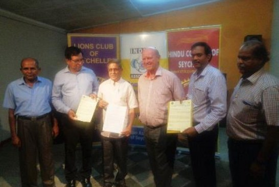 SEYCHELLES SEES ITS INDIAN ASSOCIATION & THE HINDU COUNCIL OF SEYCHELLES JOIN THE LIONS CLUB OF SEYCHELLES TO ENDORSE THE ISLAND'S CANDIDATURE FOR SG OF THE UNWTO