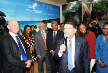 Seychelles Tourism Minister Loustau-Lalanne endorses former Minister St.Ange as the island's Candidate for SG of the UNWTO in function at ITB in the presence of Taleb Rifai the outgoing SG of the UN Body