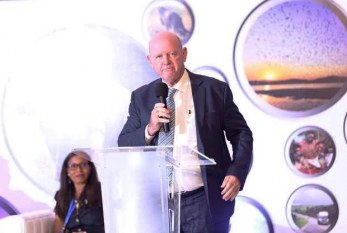 Alain St.Ange, president of the African Tourism Board & Seychelles former Tourism Minister addresses opening ceremony of Uganda's annual Pearl of Africa Tourism Expo
